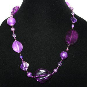 Long purple and silver necklace